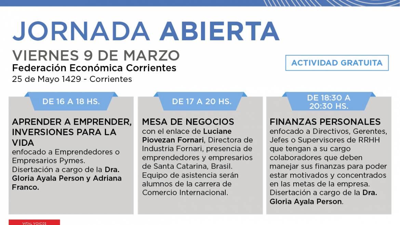 JORNADA ABIERTA, viernes 9 de marzo en la Federación Económica Corrientes.